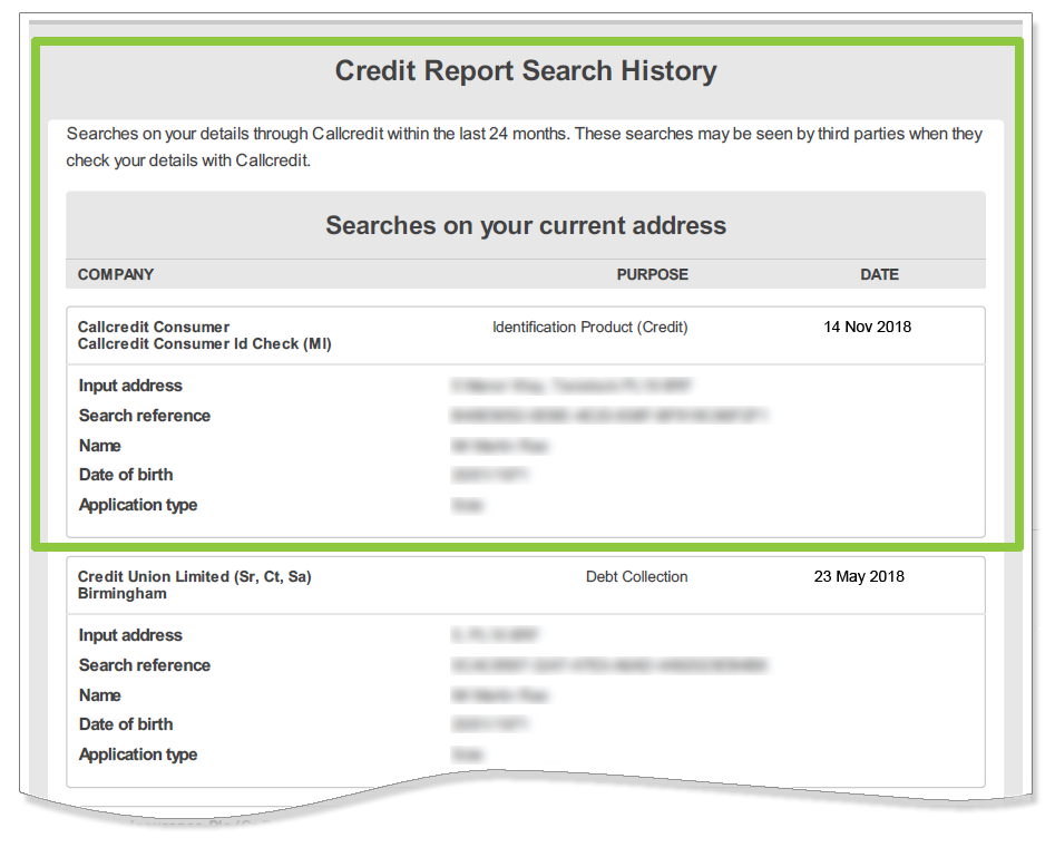 Credit Search History