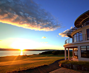 Photo of the art deco clubhouse at Castle Stuart Golf Links