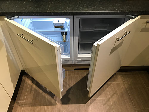 Photo of the fridge and freezer at the Luxury Lodge