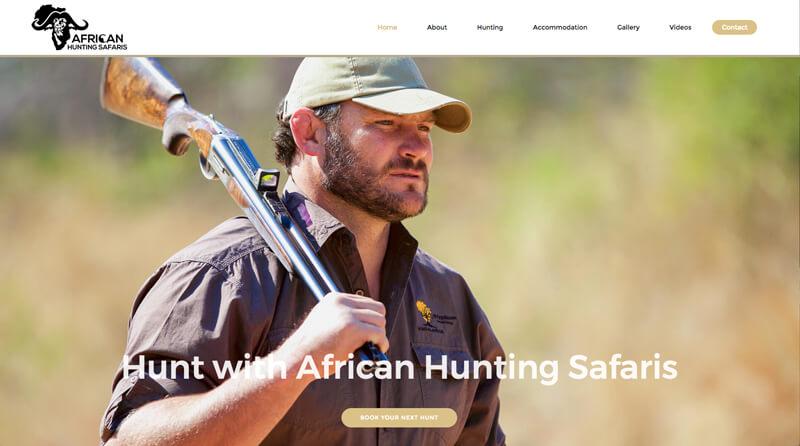 Screenshot of the African Hunting Safaris website