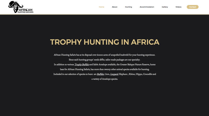 Another screenshot of the African Hunting Safaris website.