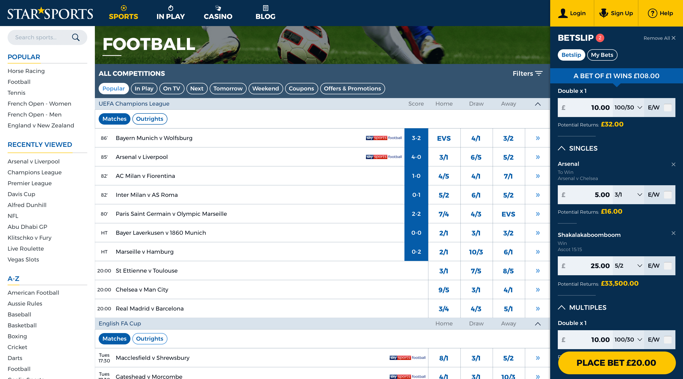 Screenshot of William Hill
