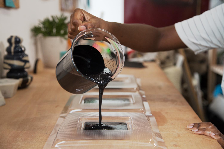 casting Jesmonite into custom made homewares molds