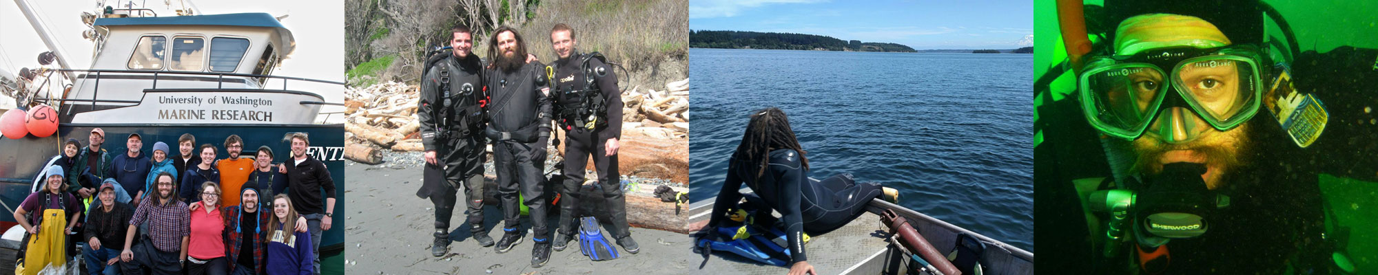 Photo strip of Ryan McLaughlin on a boat and diving