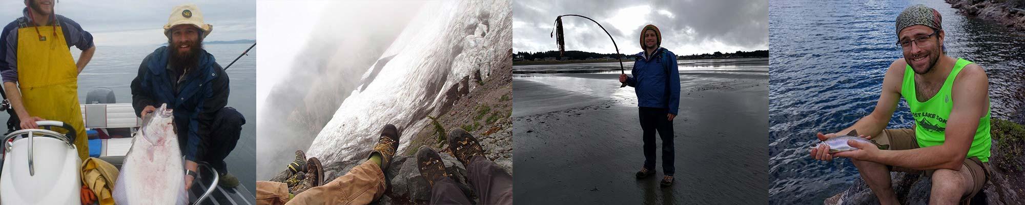 Photo strip of Ryan McLaughlin fishing and hiking