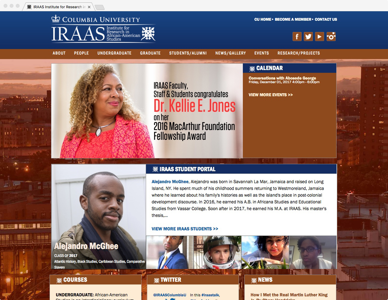 Image of screenshot of Columbia University IRAAS website