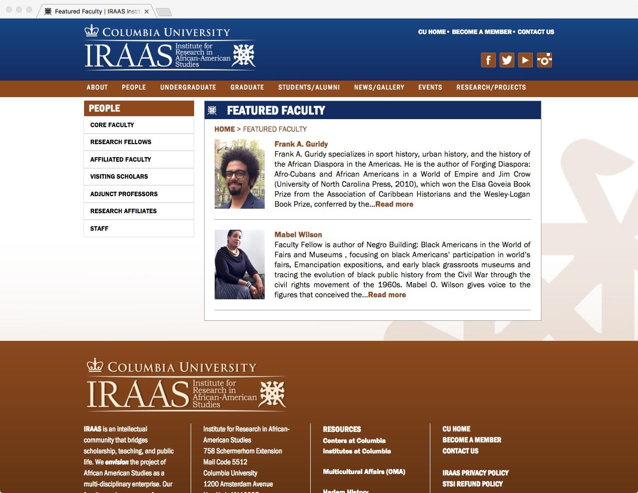 Image of screenshot of Columbia University IRAAS website