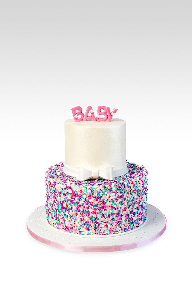 2 Tier Confetti Baby Shower Cake