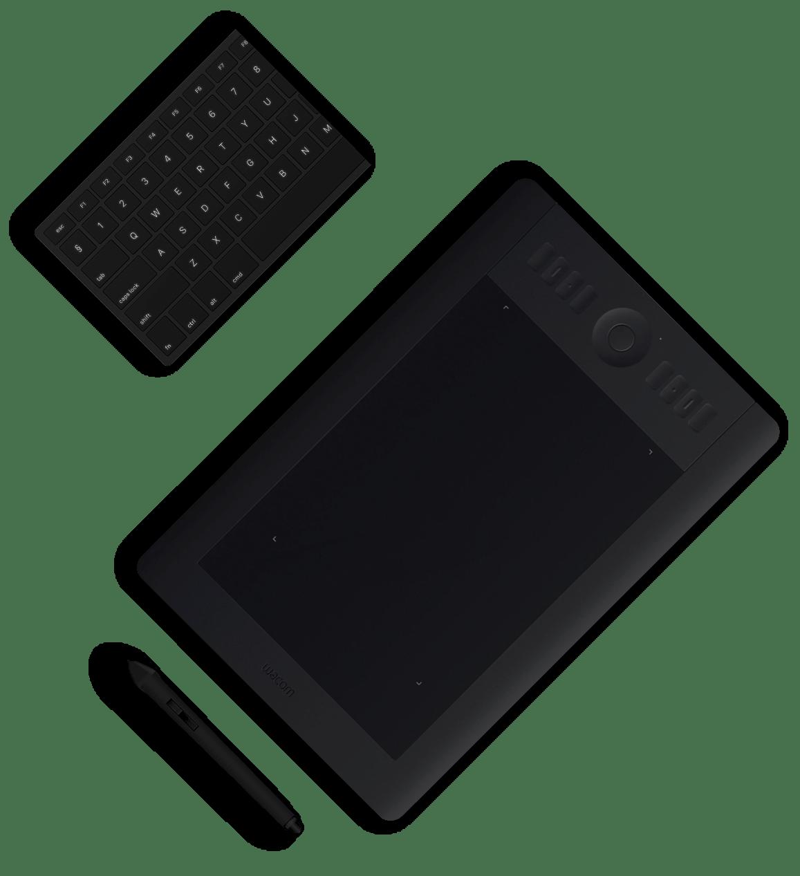 Une tablette graphique et un clavier