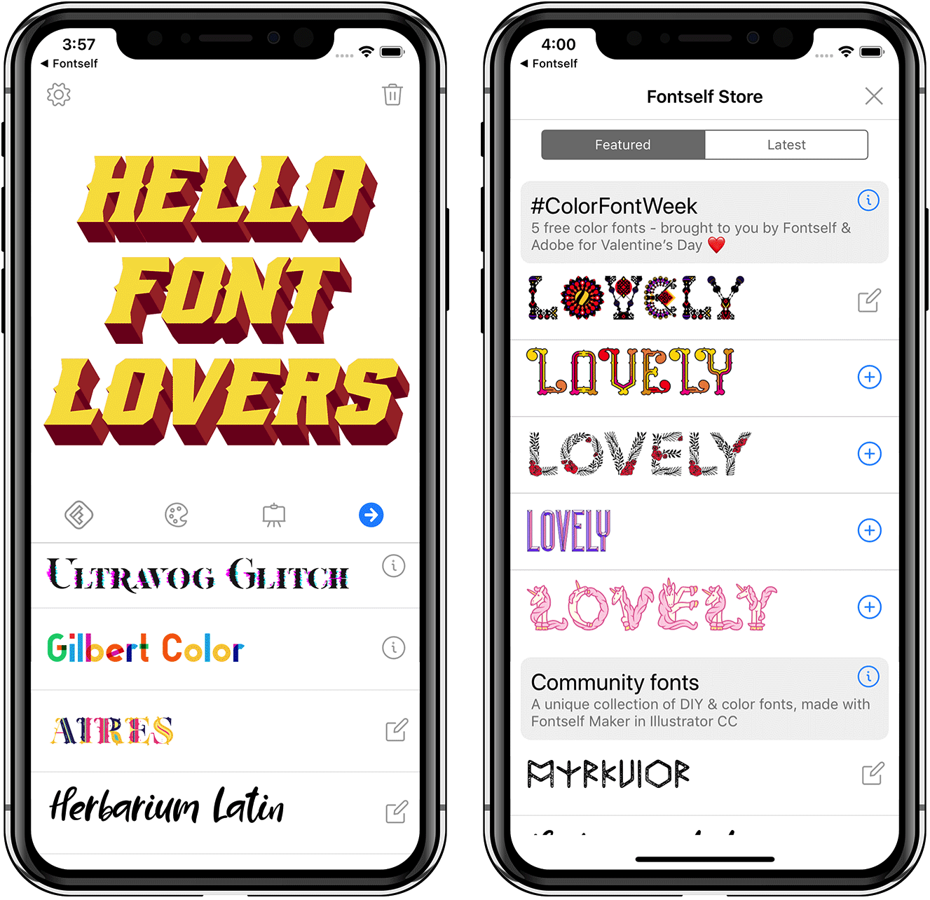 Fontself iOS app