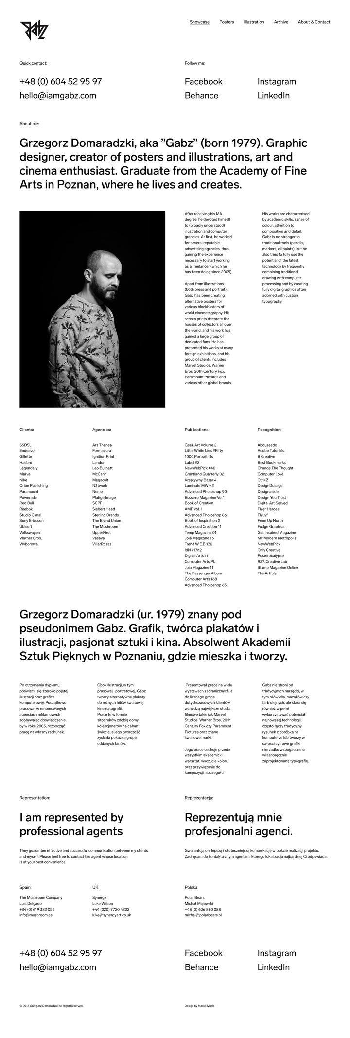 Grzegorz Domaradzki About page by Maciej Mach