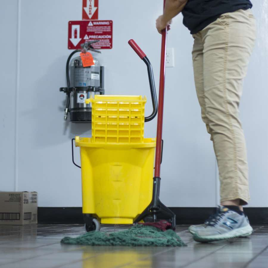 Cleaning floors for a commercial client