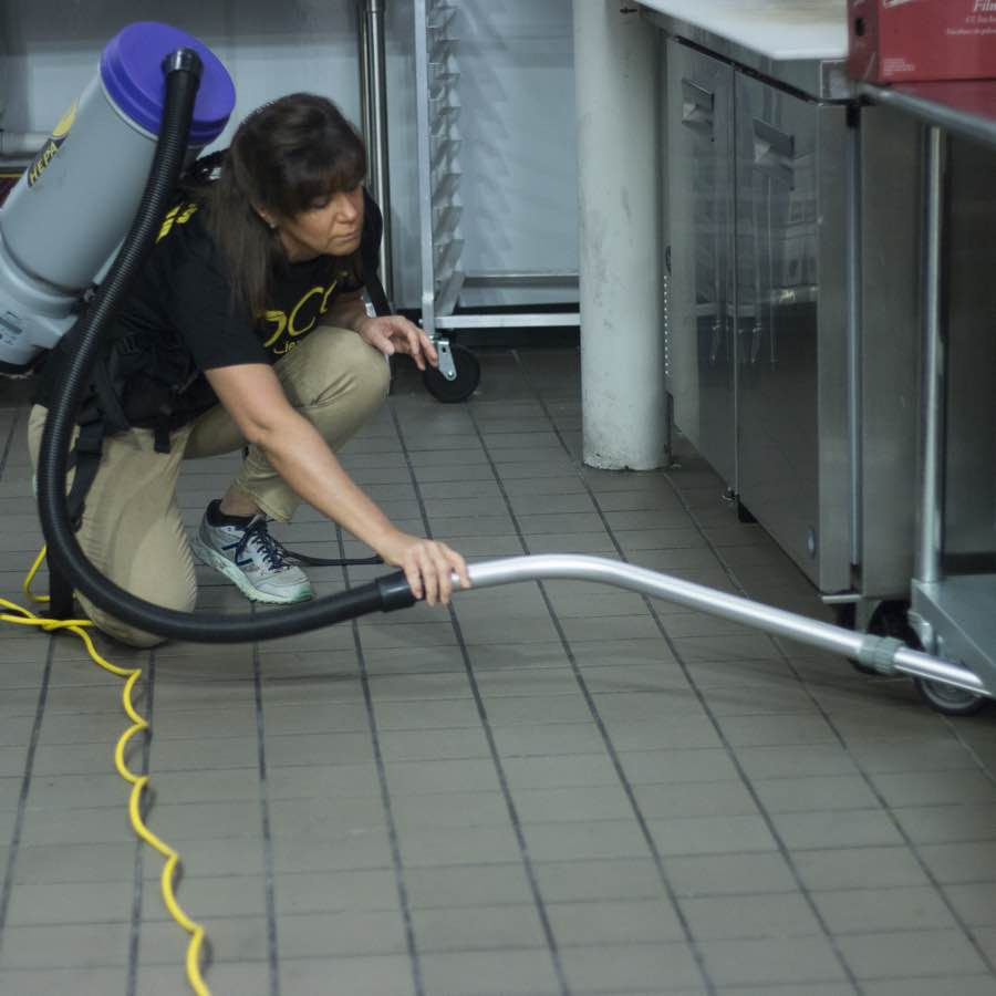 Commercial floor in Portland ME being cleaned