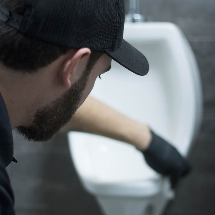 Commercial restroom in Portland ME being cleaned