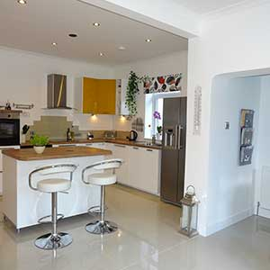 White Kitchen with breakfast bar for sale in Bournemouth