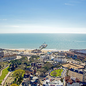 Bournemouth pier aerial view with sea in background