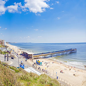 Boscombe pier and beach holiday lettings copyright Bournemouth Tourism