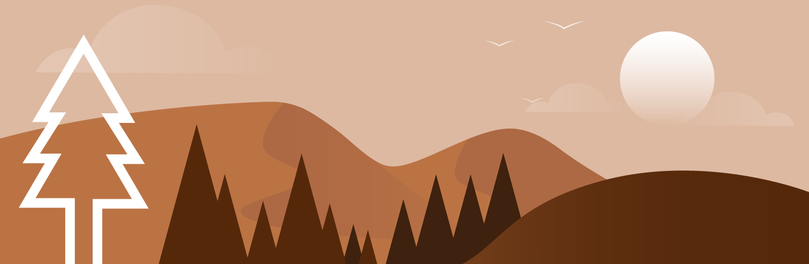 A background illustration of hills, sky and the Pine Design Studio logo.