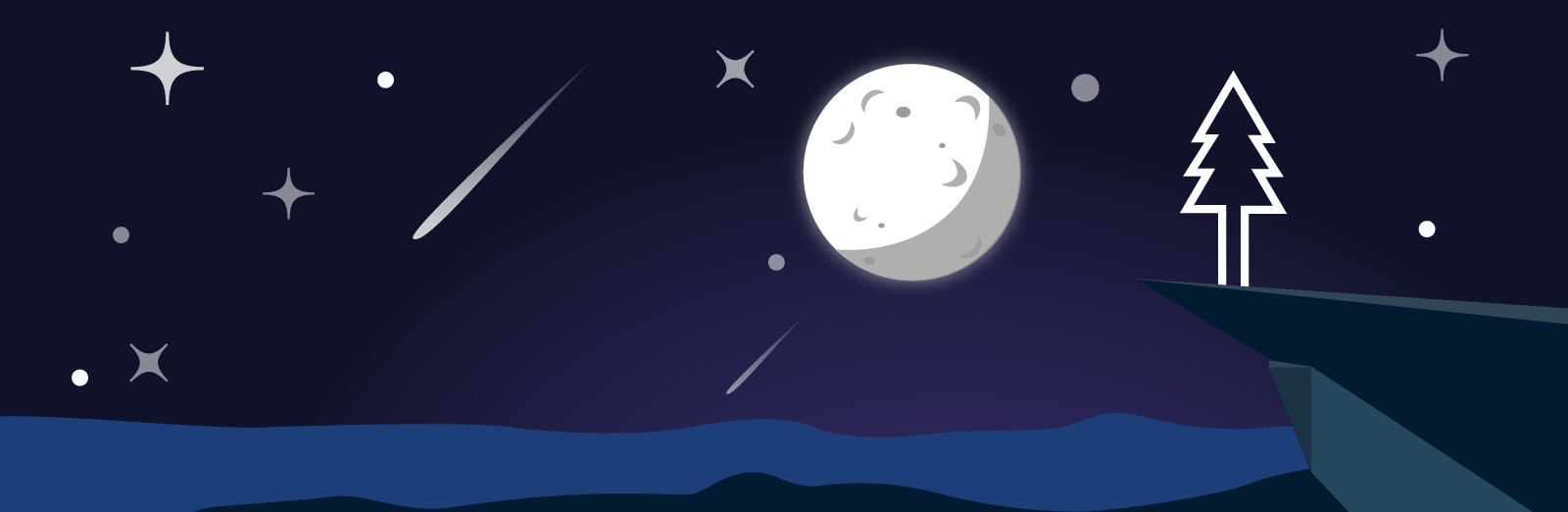 A nighttime illustration of the sky, moon and the Pine Design Studio logo.
