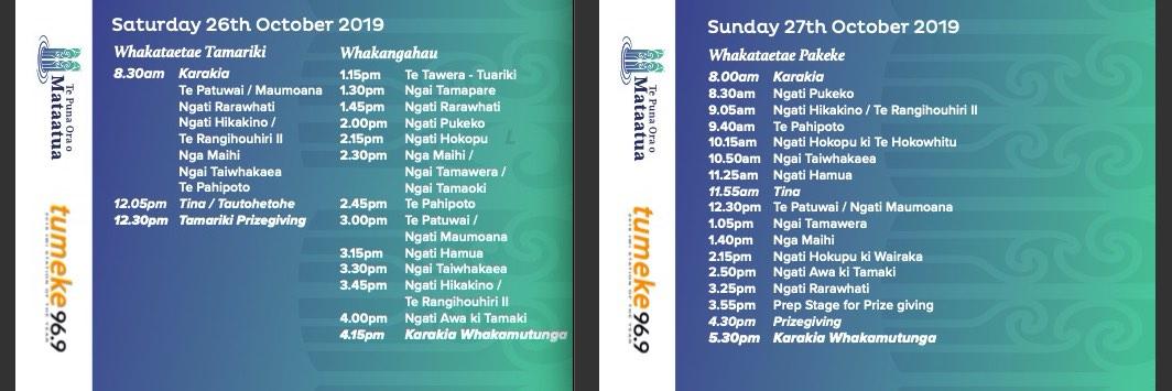 Ngāti Awa Te Toki schedule