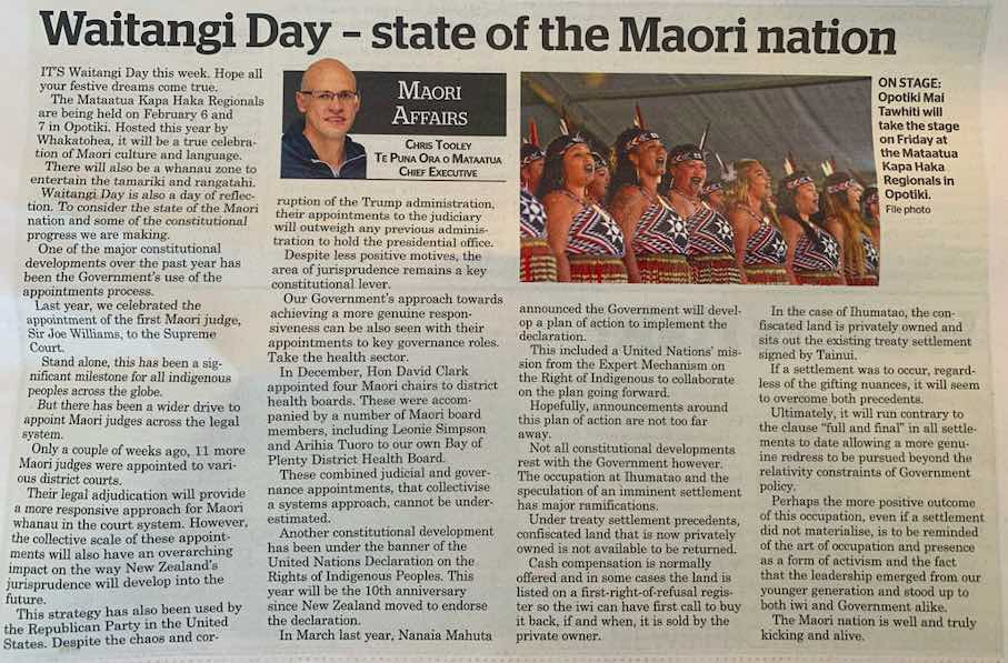 Waitangi day newspaper