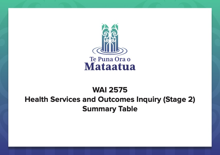 Wai health services and outcomes inquiry summary