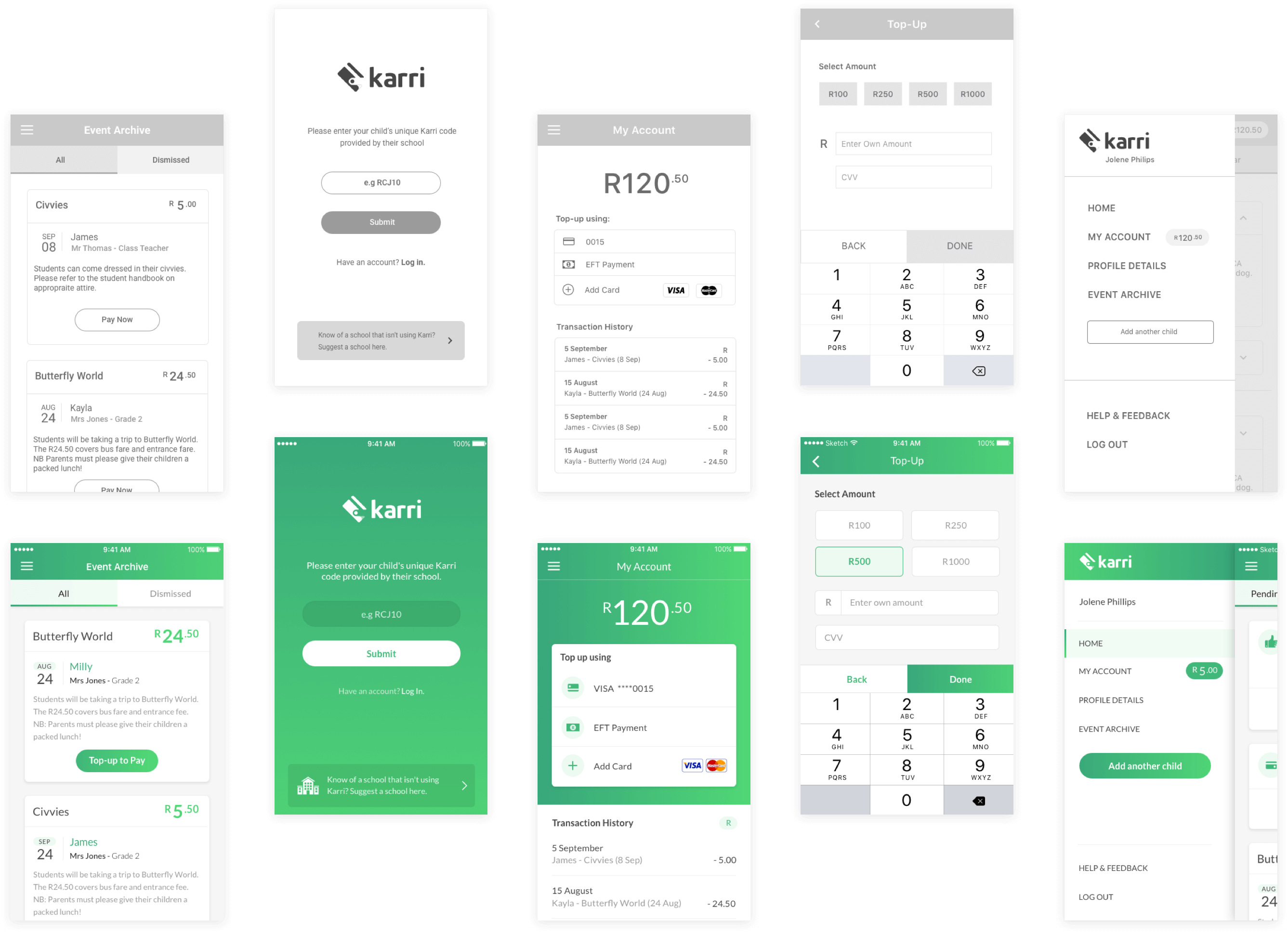Karri Mobile App Wireframe and Screen Designs