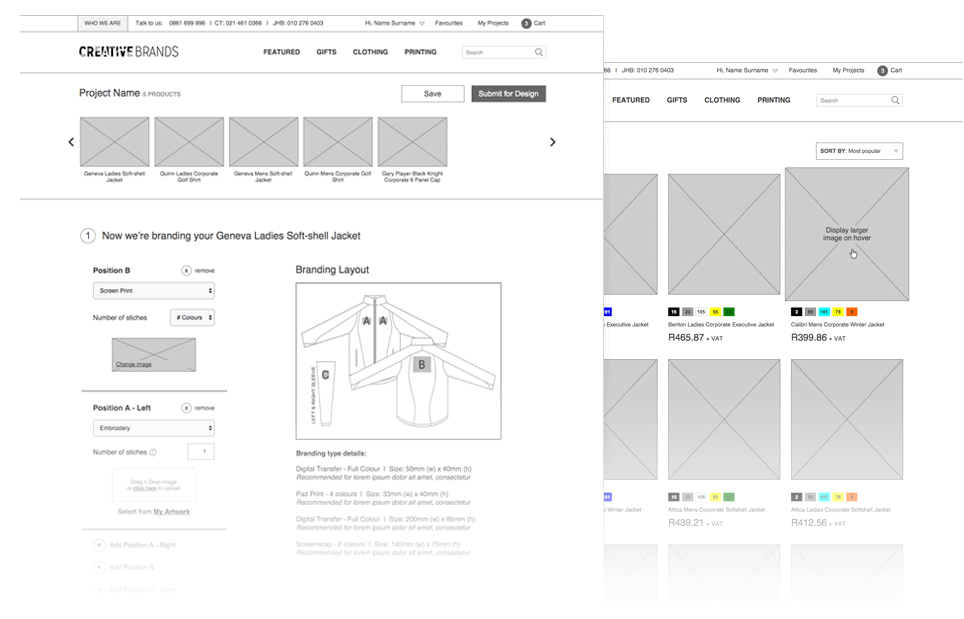 Creative Brands Desktop Site Wireframes
