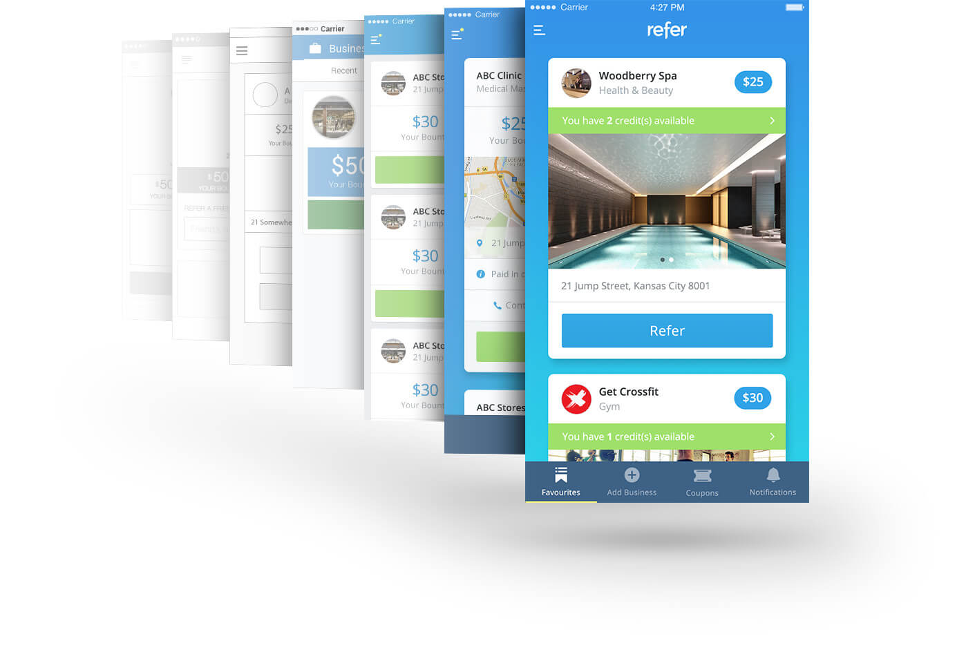 Refer Mobile Wireframe and Screen Designs