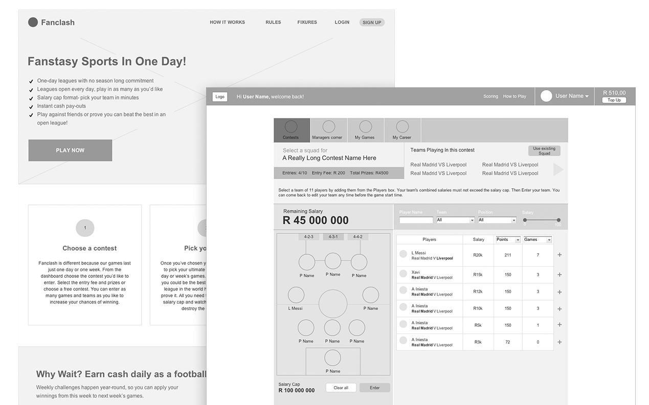 Fanclash Web App & Site Wireframe Screen Designs