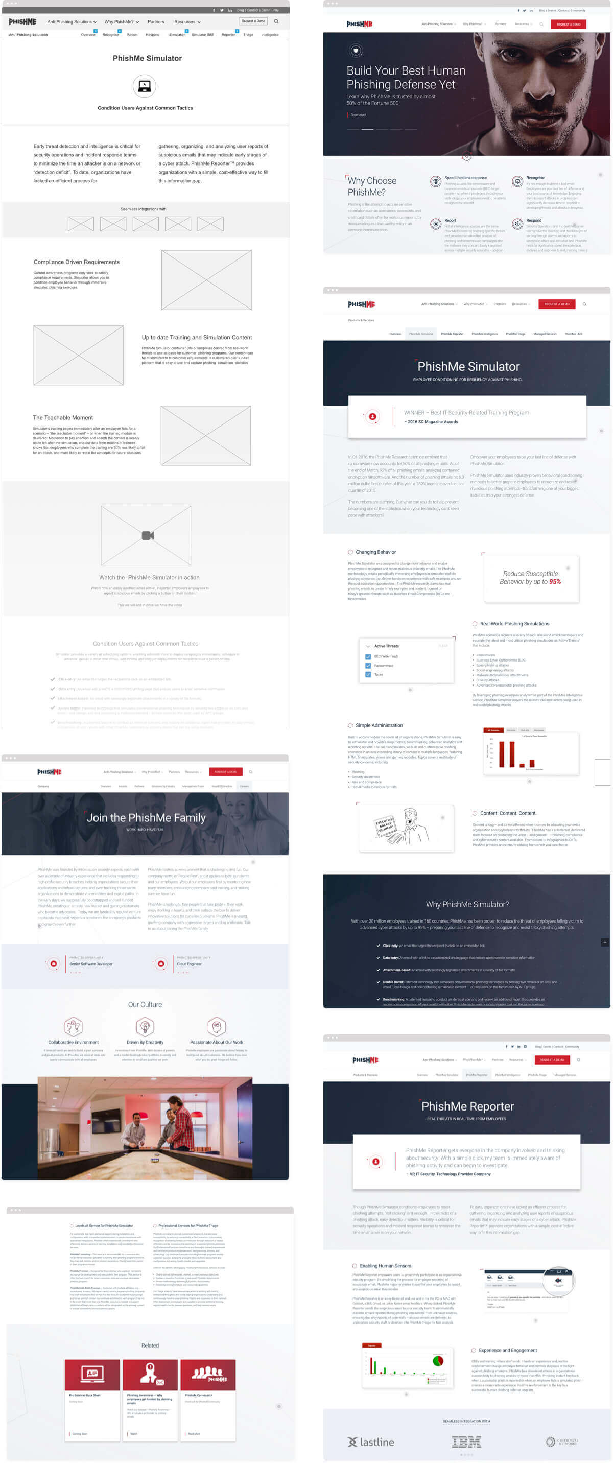 PhishMe Marketing Site Wireframe and Screen Designs