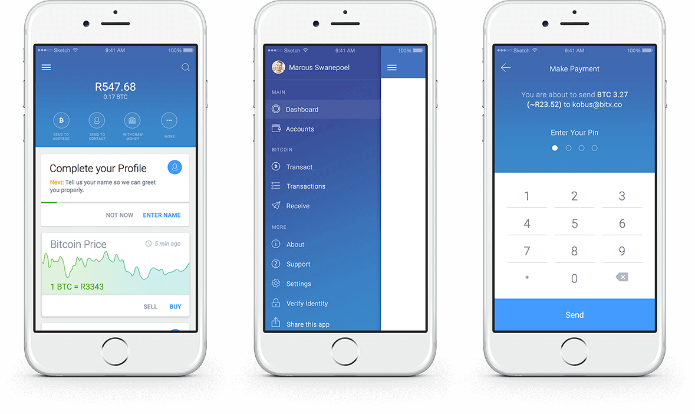 BitX iOS Screen Designs
