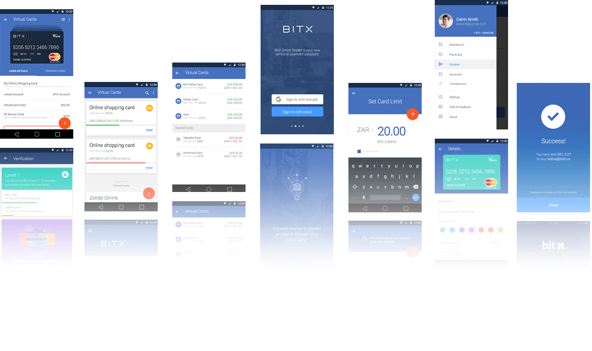 BitX Multiple Android Screen Designs