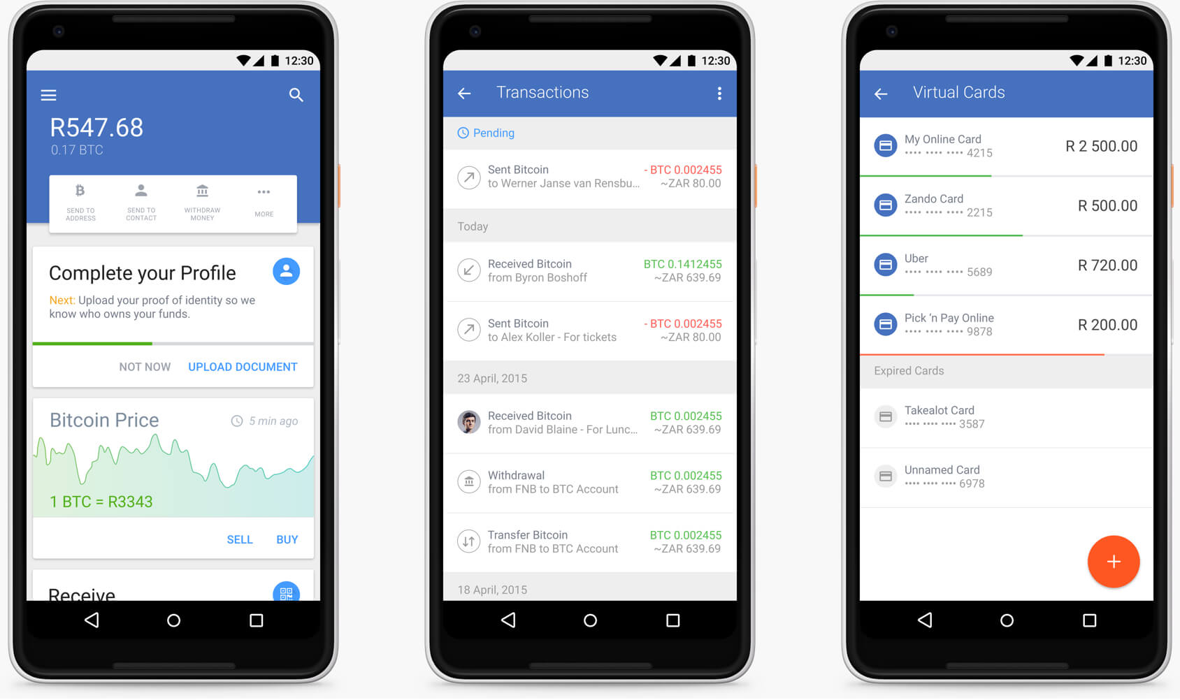 the luno app screen designs displayed on a google pixel