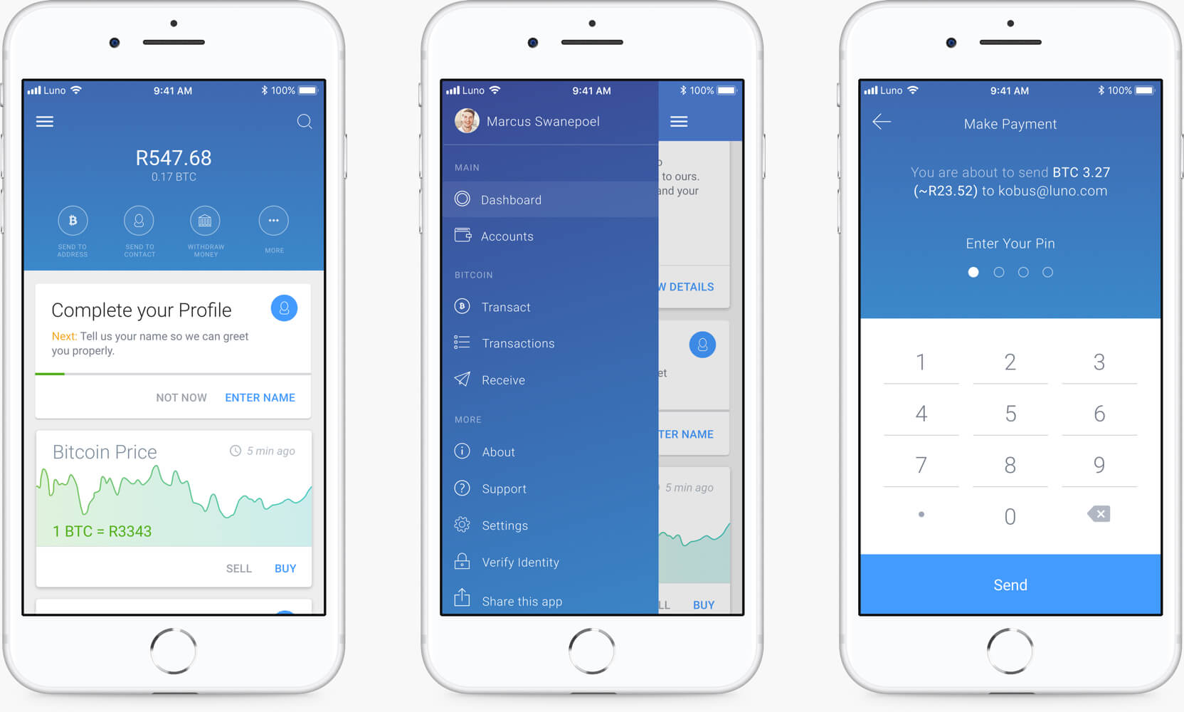 the luno app screen designs displayed on a iphone