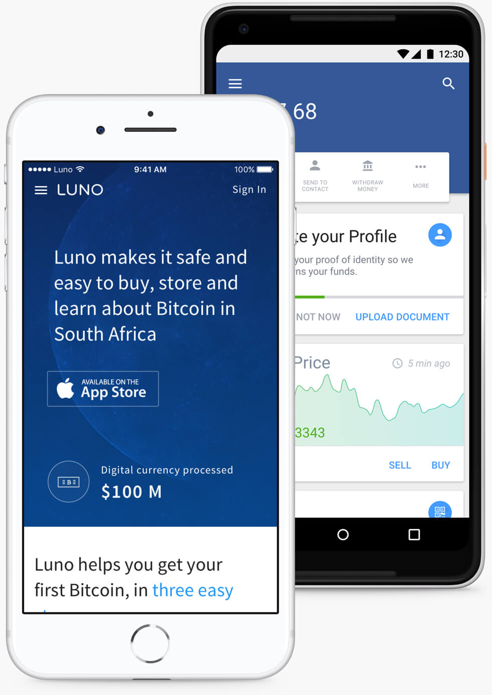 luno website and app displayed on both and ios and android device