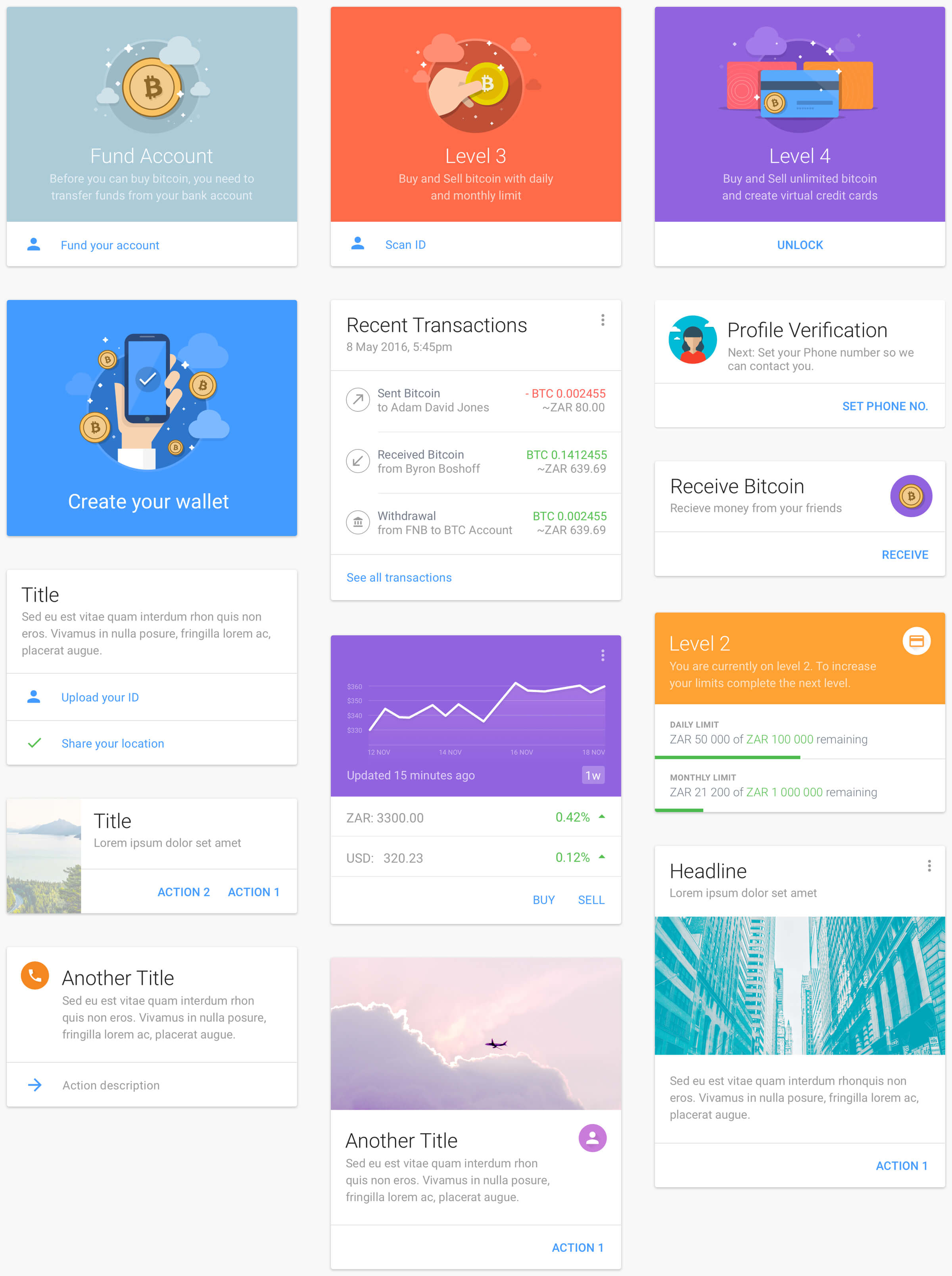 multiple ui cards for luno design system
