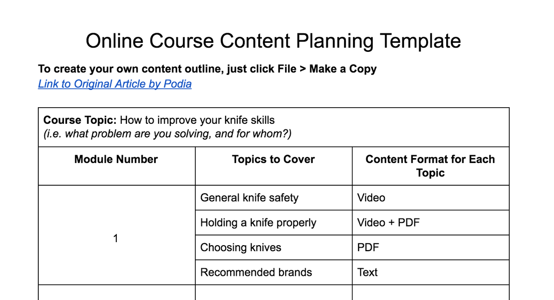 Online course planning template