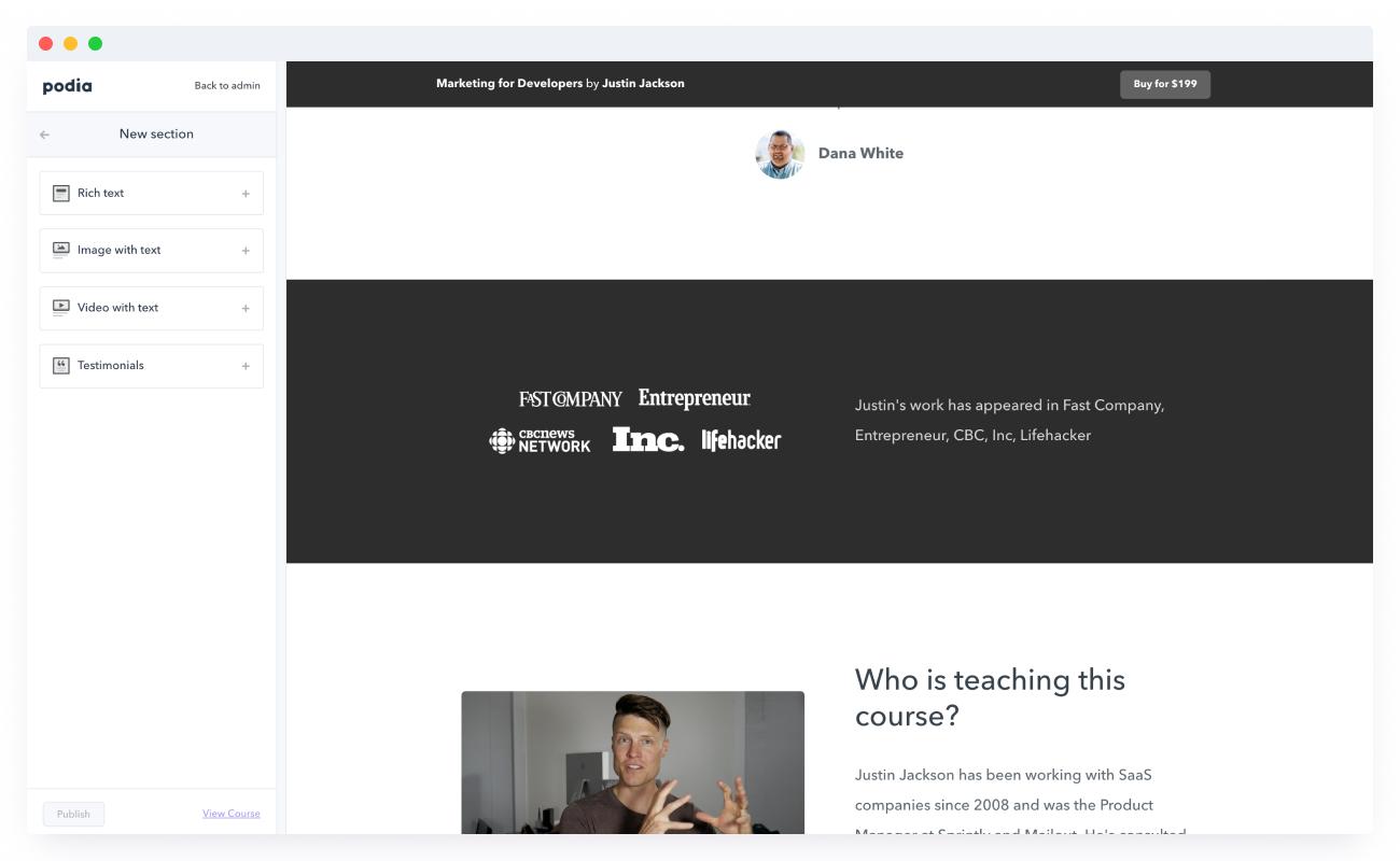 Platform for selling online courses