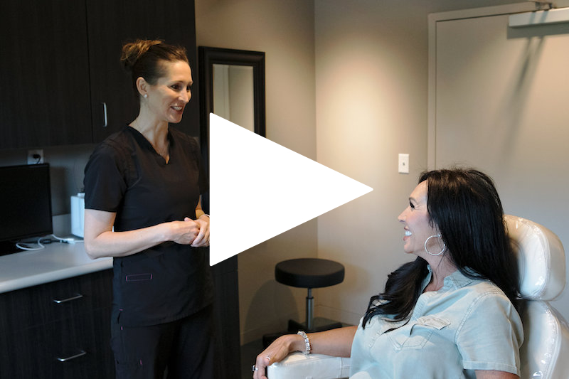 Woman in chair at med spa