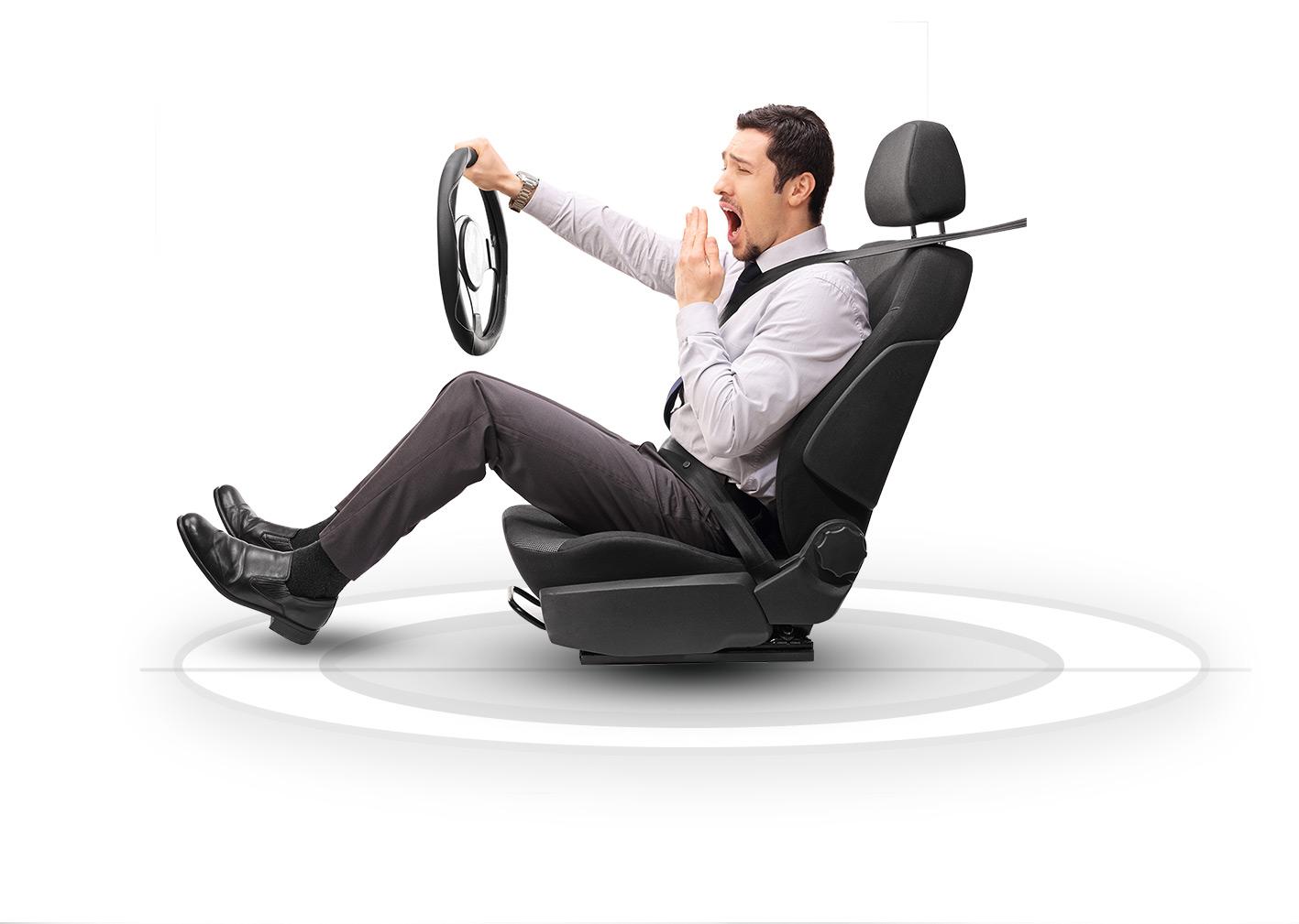 Guy driving imaginary vehicle