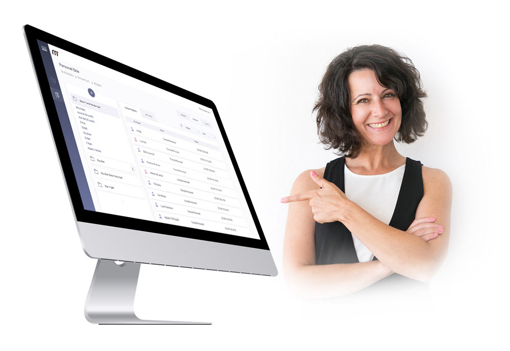 iMac and a brunette curly woman