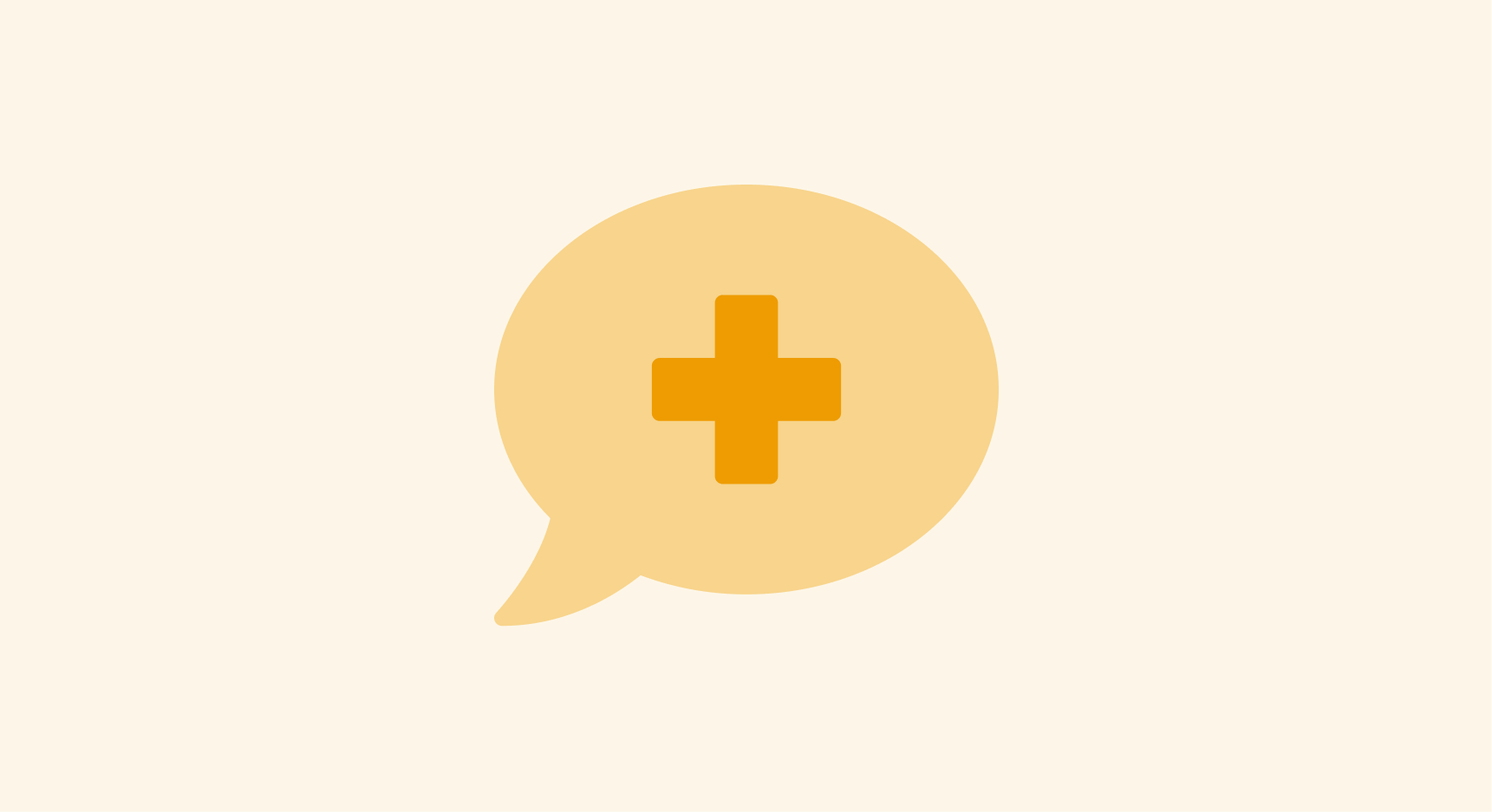 Speech bubble with a medical cross