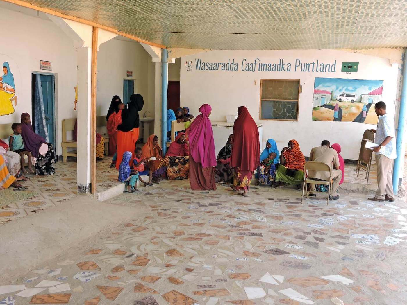 Woman and children at a rural hospital in Somalia
