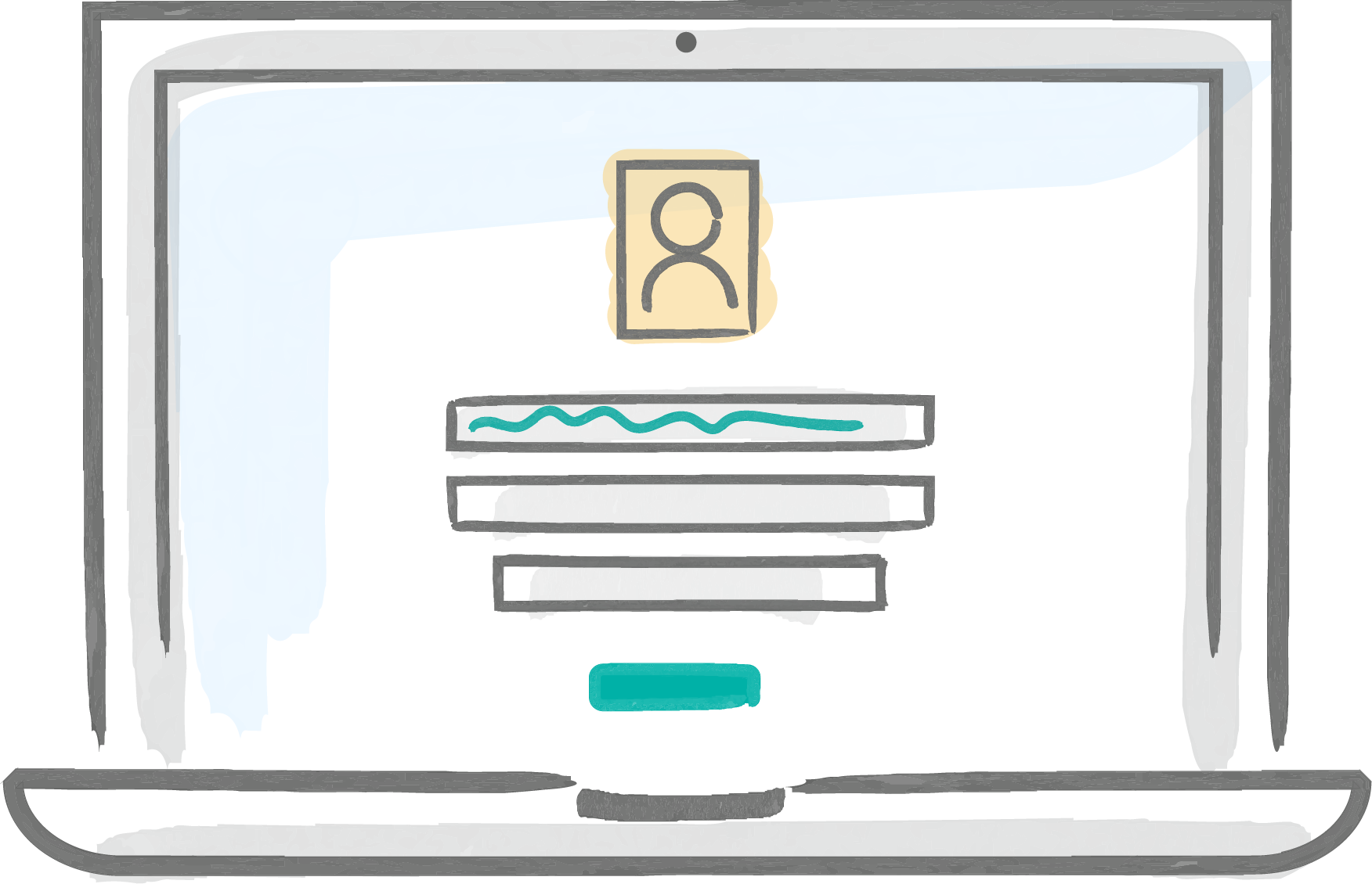 Icon of handdrawn laptop that shows login page