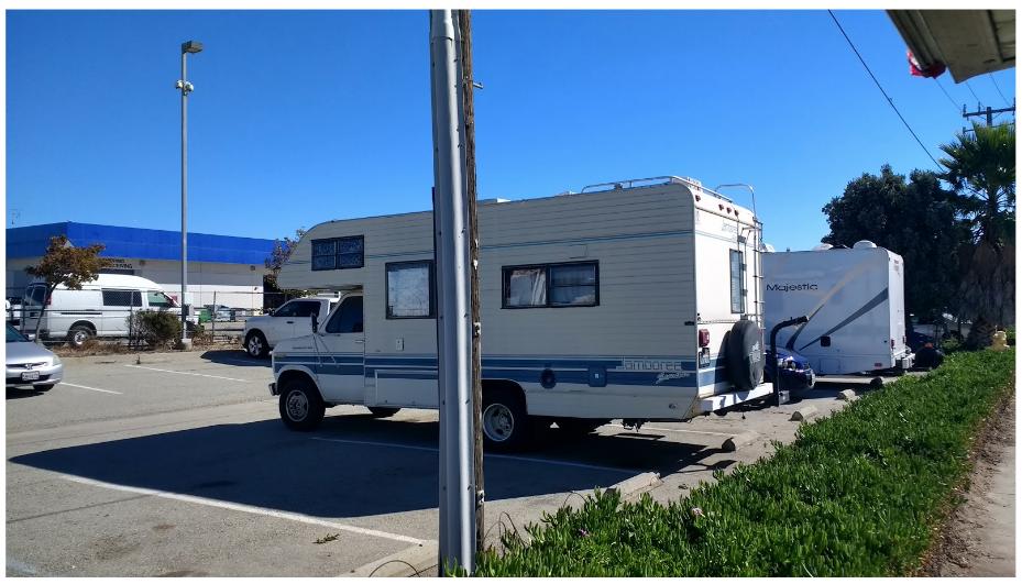RV trailer in parking area
