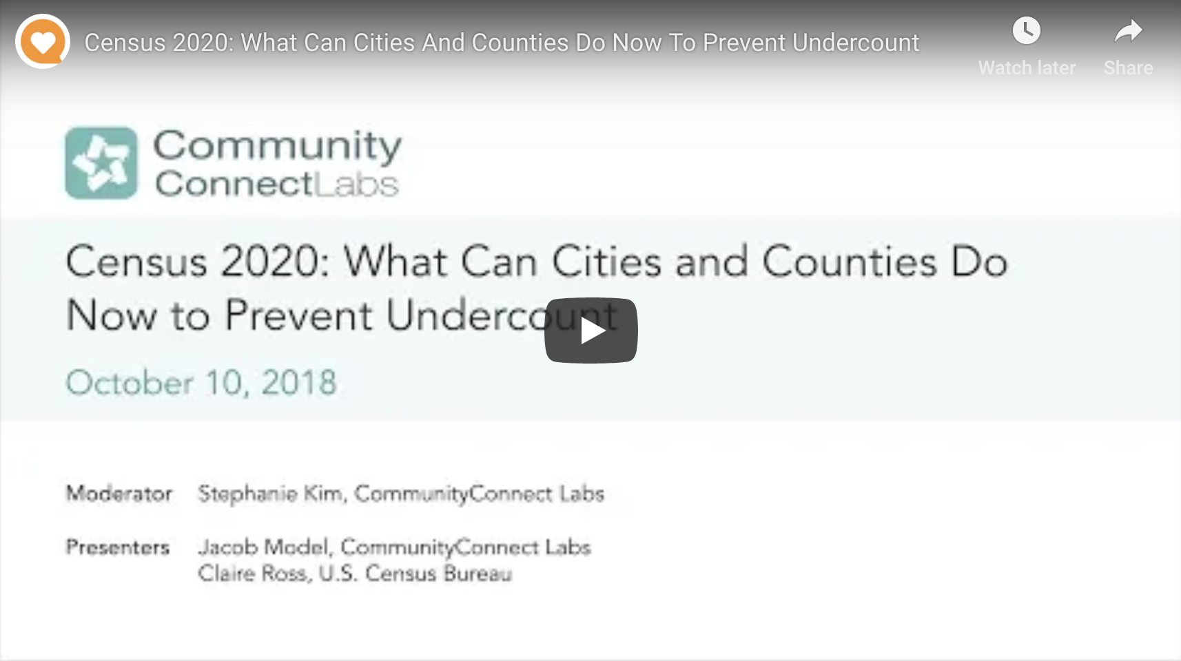 CommunityConnect Labs Census 2020 webinar