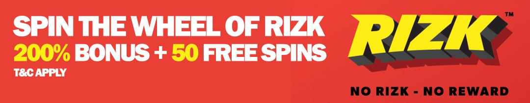 Rizk Get 200% first deposit bonus + 50 Free Spins