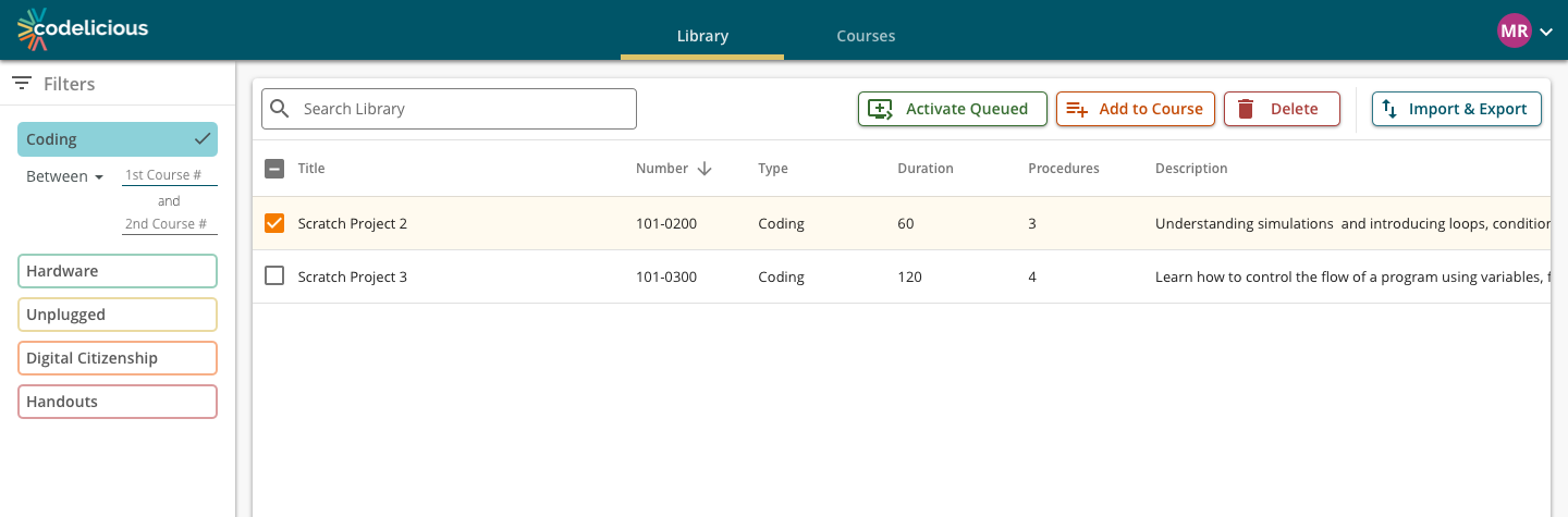 Screenshot of Codelicious interface with a course activity selected to highlight its available actions