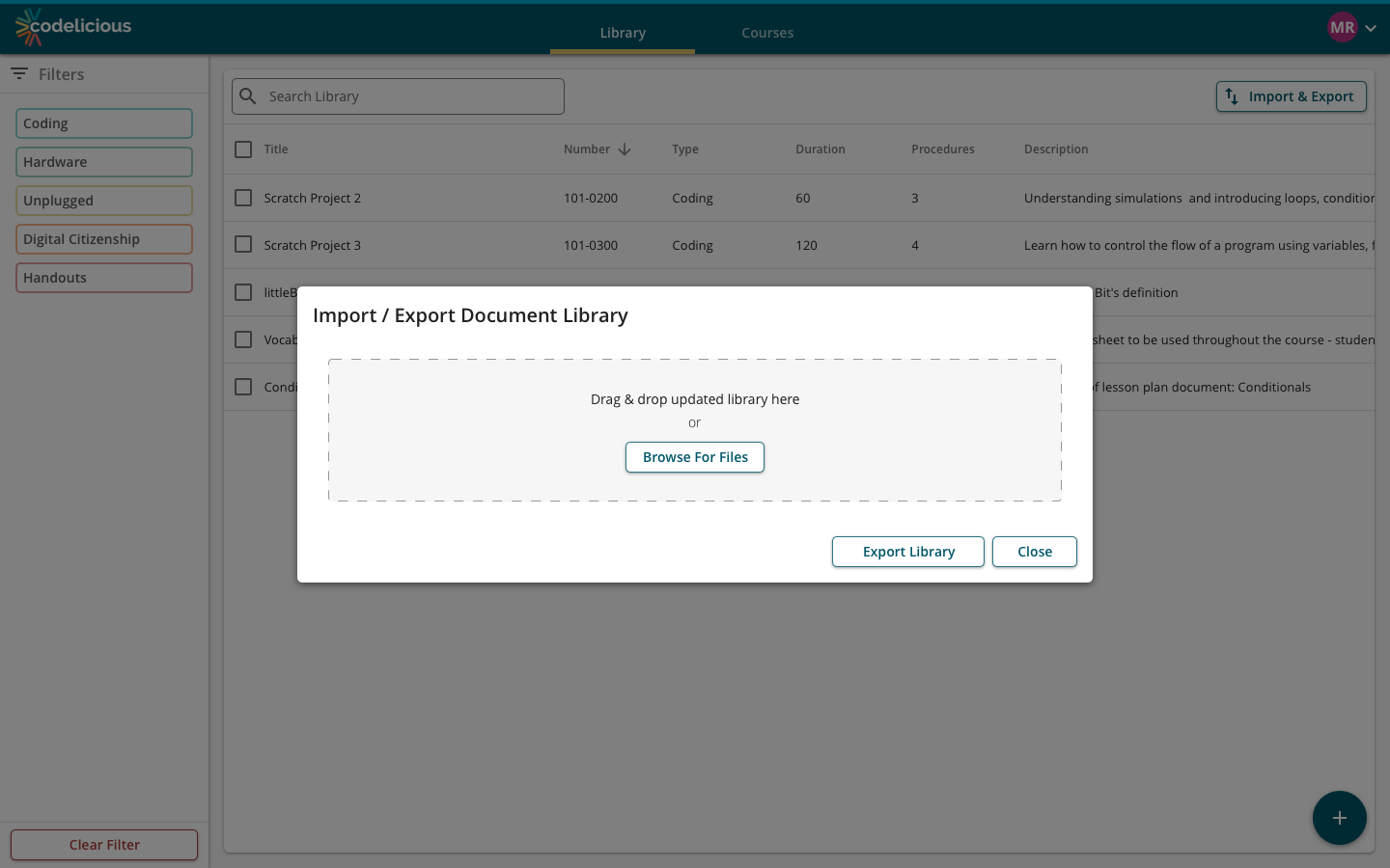 Spreadsheet import/export facilitated mass update functions